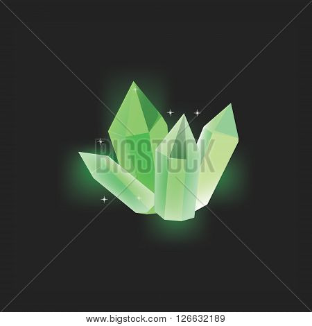 Vector illustration green magic crystal on black background. Crystal resource for app. Shining crystal icon