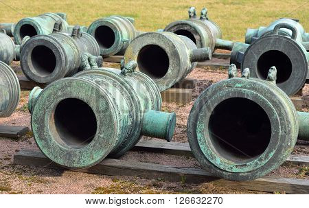 Old mortars in Military Artillery Museum in St.Petersburg Russia.