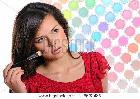 Beautiful Woman Applying Cosmetic.