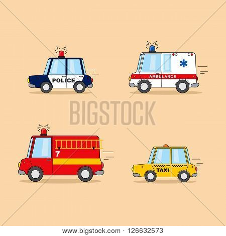 Set of cartoon cars: police car, ambulance, firefighter truck, taxi.
