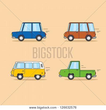 Set of cartoon cars: sedan, mini van, hippie van, pickup truck