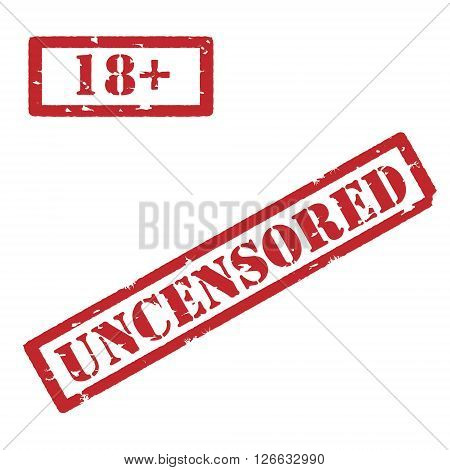 Vector illustration rectangle red under 18 eighteen stop sign. 18+ age restriction stamp. Uncensored stamp