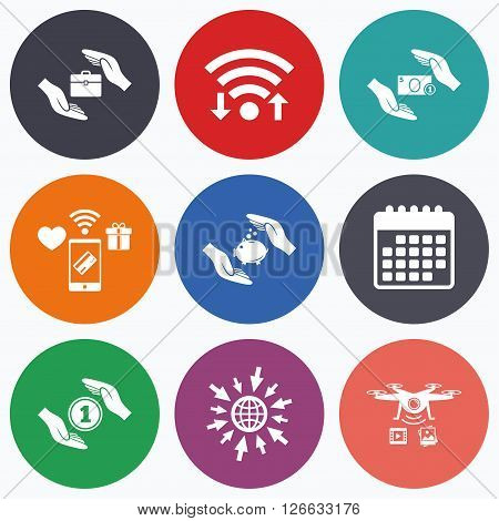 Wifi, mobile payments and drones icons. Hands insurance icons. Piggy bank moneybox symbol. Money savings insurance signs. Travel luggage and cash coin symbols. Calendar symbol.