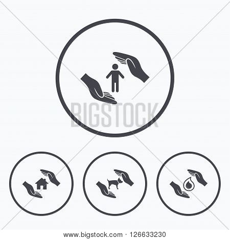 Hands insurance icons. Shelter for pets dogs symbol. Save water drop symbol. House property insurance sign. Icons in circles.