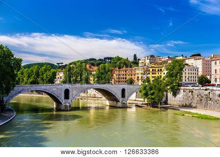 View of Principe Amedeo bridge in Rome, Italy