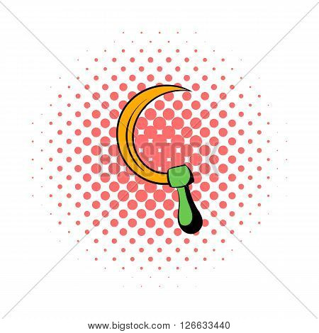 Sickle icon in comics style on a white background