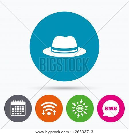 Wifi, Sms and calendar icons. Top hat sign icon. Classic headdress symbol. Go to web globe.