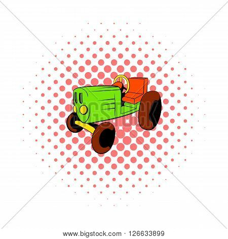 Tractor icon in comics style on a white background