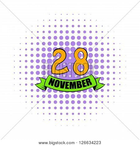 28 november date icon in comics style on a white background