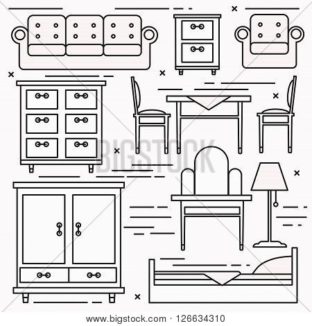 Black and white lineart furniture icons vector set.