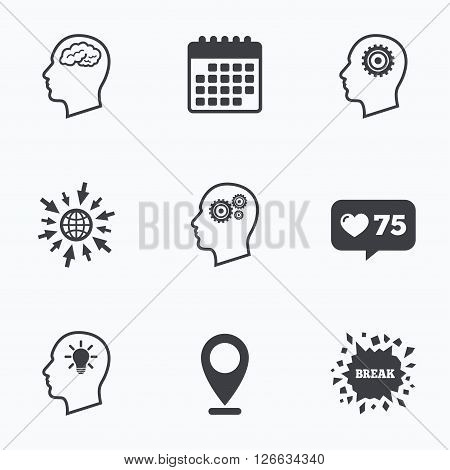 Calendar, like counter and go to web icons. Head with brain and idea lamp bulb icons. Male human think symbols. Cogwheel gears signs. Location pointer.