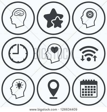 Clock, wifi and stars icons. Head with brain and idea lamp bulb icons. Male human think symbols. Cogwheel gears signs. Love heart. Calendar symbol.