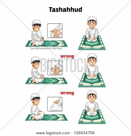 Muslim prayer position guide step by step perform by boy sitting and raising the index finger or tashahhud with wrong position