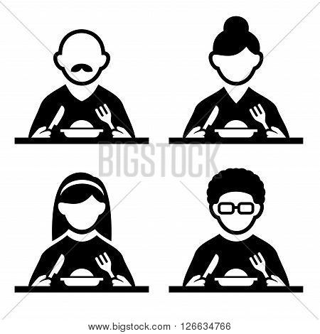 People Eating Tasting Food Pictogram Icon Set. Vector illustration