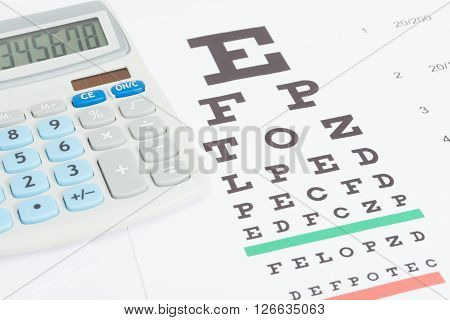Table For Eyesight Test With Calculator Over It
