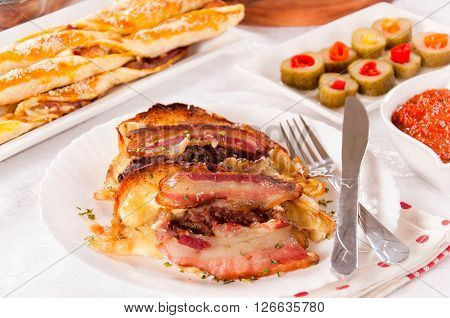 Baked Bacon And Melting Cheese