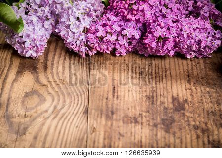 Bunch of lilac flowers on brown wood texture with empty space for text