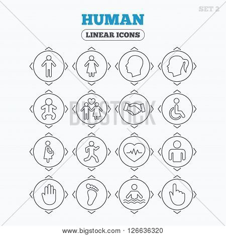 Linear icons with direction arrows. Human icons. Male and female symbols. Infant toddler and pregnant woman. Wheelchair for disabled. Success deal handshake. Circle buttons.