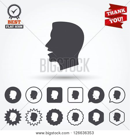 Talk or speak icon. Loud noise symbol. Human talking sign. Circle and square buttons. Star labels and award medal. Thank you ribbon.