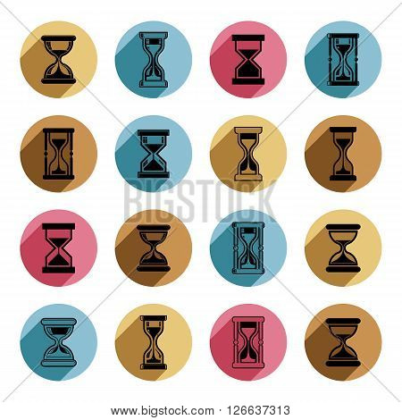 Sand-glass vector illustrations. Set of antique classic hourglasses. Retro clocks collection.