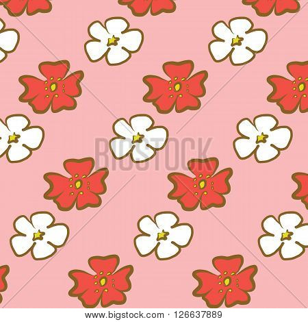 Cherry Blossom red and white flower illustration drawing with paint brush seamless on pink background spring tone