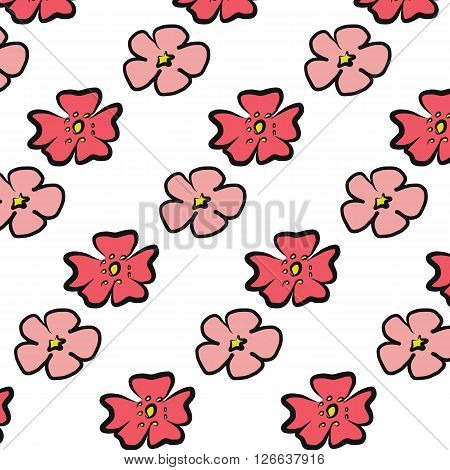 Cherry Blossom red and pink flower illustration drawing with paint brush seamless on white background