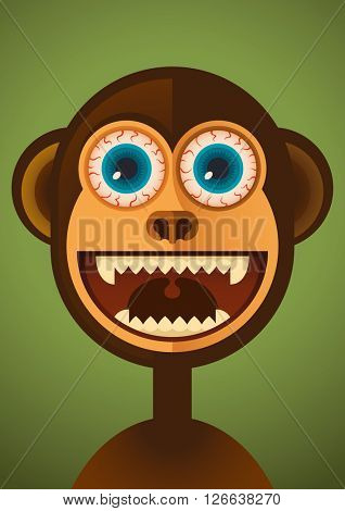 Comic monkey. Vector illustration.