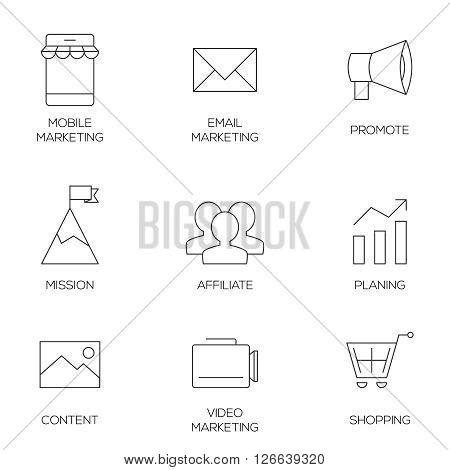 Business marketing outline icons. Affiliate and promotion marketing