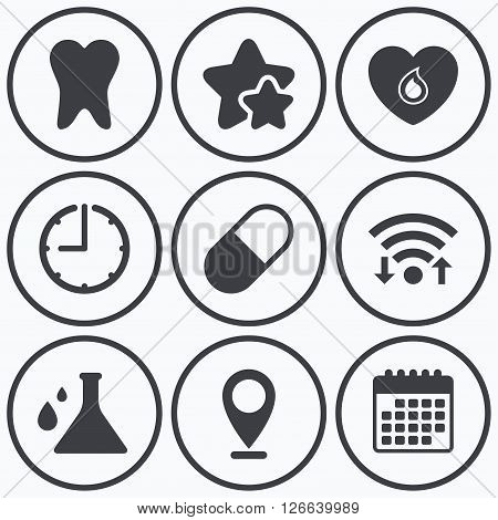 Clock, wifi and stars icons. Maternity icons. Pill, tooth, chemistry and heart signs. Blood donation symbol. Lab bulb with drops. Dental care. Calendar symbol.