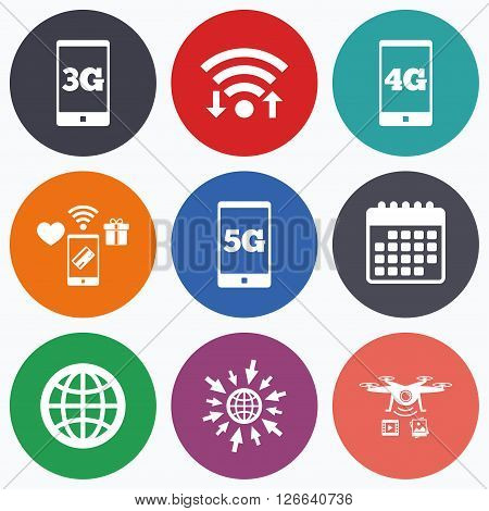 Wifi, mobile payments and drones icons. Mobile telecommunications icons. 3G, 4G and 5G technology symbols. World globe sign. Calendar symbol.