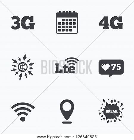Calendar, like counter and go to web icons. Mobile telecommunications icons. 3G, 4G and LTE technology symbols. Wi-fi Wireless and Long-Term evolution signs. Location pointer.