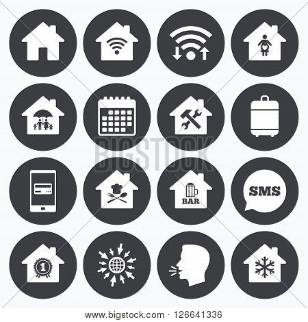 Wifi, calendar and mobile payments. Real estate icons. Home insurance, maternity hospital and wifi internet signs. Restaurant, service and air conditioning symbols. Sms speech bubble, go to web symbols.