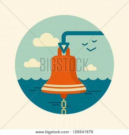 Bell marine vector icon. Marine Sea eps 10