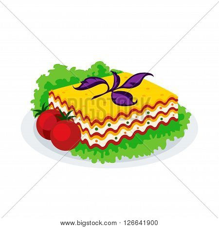 Lasagna icon isolated on a white background. Icon dishes with vegetarian lasagna with salad and tomatoes in a flat style. Vector illustration.