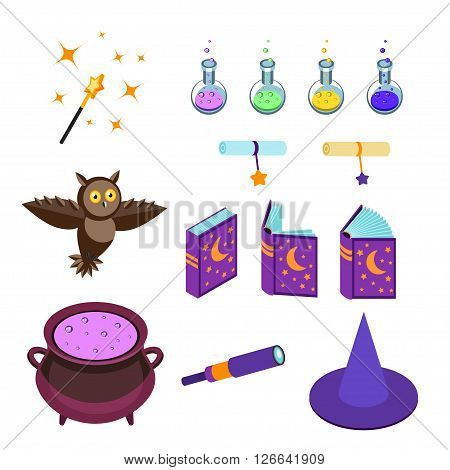Isometric magical accessories isolated on white background. Magic wand, potions, magic book, hat a wizard, boiler scrolls and post owl. Set magical icons. Vector illustration.