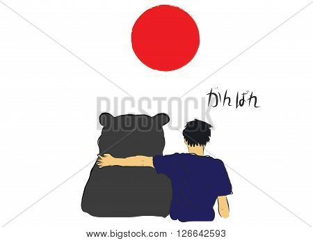 Unknown man hug the big bear for encourage by my own sketch drawing with text Do you best in Japanese language under the red circle of Japan flag
