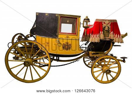 Smart yellow historic carriage isolated on white