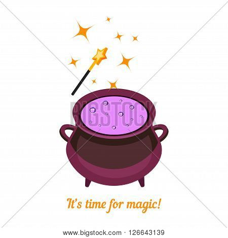 Isometric magic cauldron isolated on white background. Magic wand and cauldron with potion. Magic background. Vector illustration.