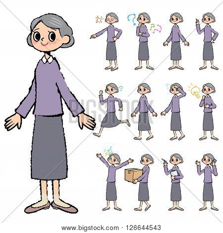 Set of various poses of Purple clothes grandmother in hand painted