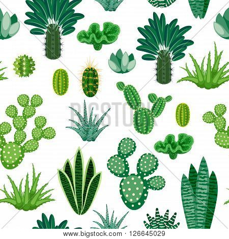 Seamless pattern of cacti and succulents. Modern seamless background of houseplants. Seamless pattern of cactus isolated on white background. Vector illustration.
