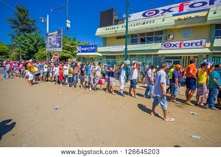 Portoviejo, Ecuador - April, 18, 2016: People in line to get some water after 7.8 earthquake