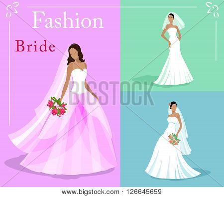 Vector set of a fashion beautiful brides in white wedding dresses with a bouquets. EPS 10