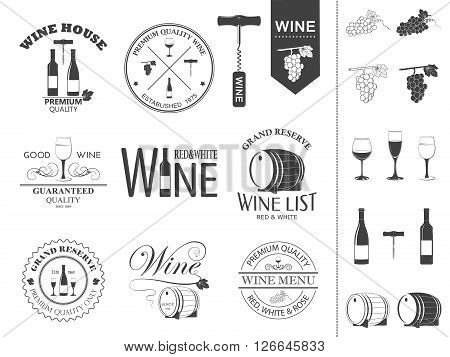 Wine labels and icons set. Vector EPS8 illustration.