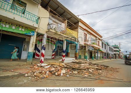 Chone, Ecuador - April, 18, 2016: Two story house collapsed after 7.8 earthquake.