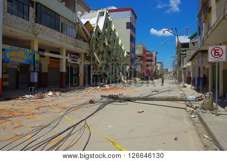 Portoviejo, Ecuador - April, 18, 2016: Sterr in the city center, showing the aftereffect of 7.8 earthquake that destroyed the province.