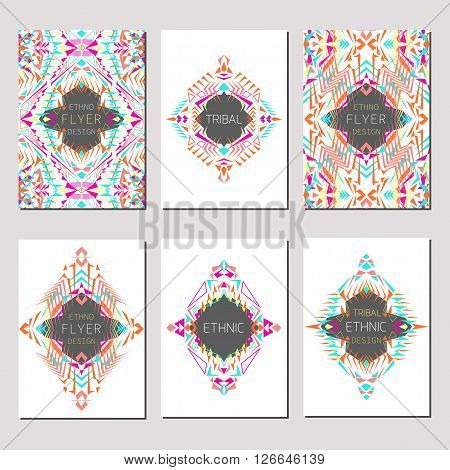 Vector set of geometric colorful brochure templates for business and invitation. Ethnic tribal aztec style. A4 layout format. Modern ethno ikat pattern