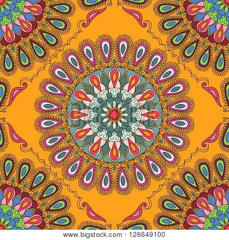 Vector seamless texture. Beautiful mandala pattern for design and fashion with decorative elements in ethnic indian style. Talavera Asian Ottoman Turkish floral and geometric motifs