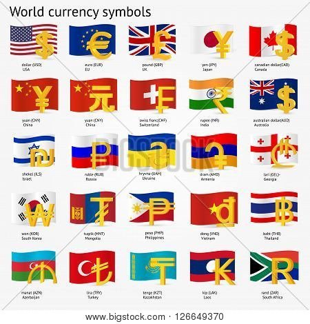 World currency symbols with flag icon set.  Money sign icons  collection with national flags. Vector illustration.