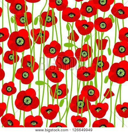 World War II commemorative background for design banner,ticket, leaflet and so on.Template page. Red poppies seamless pattern.