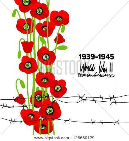 War commemorative card with barbed wire and poppies for design banner,ticket, leaflet and so on. Template page. Place for text.